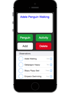 A mockup of Popper's penguins on iPhone. the bottom element is a UITableView.