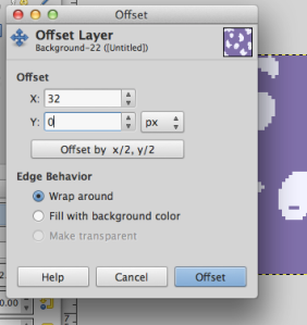 The offset dialog. GIMP has the nifty x/2,y/2 button.