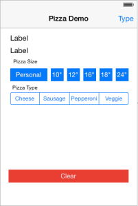 Completed Pizza Demo Page.
