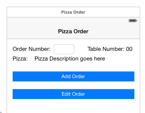 The view for the pizza order app in a storyboard.