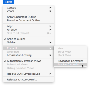 Tab Bar Controllers in Xcode 8 Storyboards – Making App Pie
